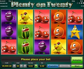 automat plenty on twenty online zdarma